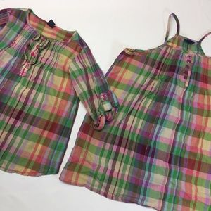 Gap girls matching shirts 3 and 8 plaid madras